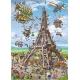 Bau des Eiffelturms - Cartoon