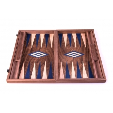 Backgammon Board Nussbaum Blau - 47 x 60cm