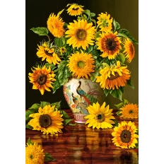 Sunflowers in a Peacock Vase