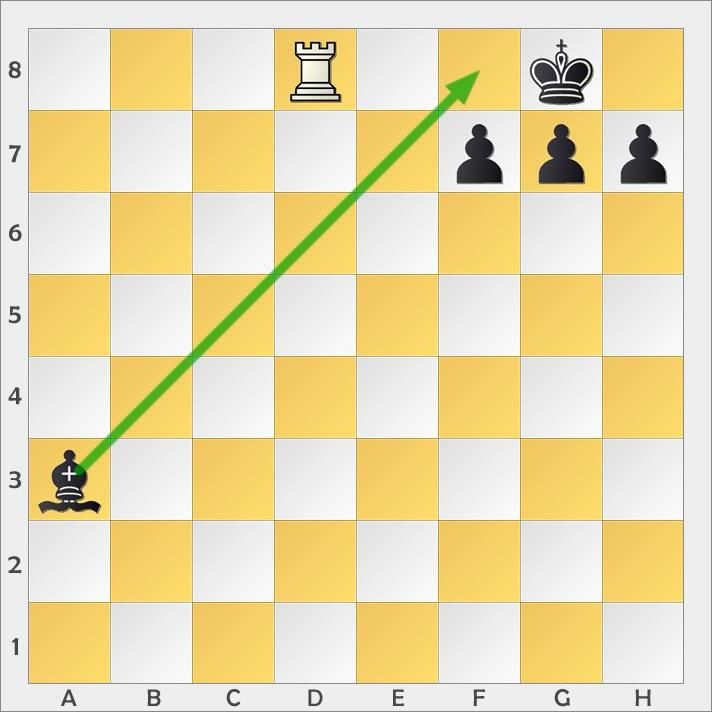 Der Läufer entschärft das Schachgebot, indem er dazwischen zieht.