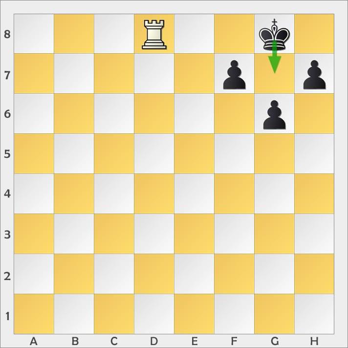 Der König weicht dem Schachgebot aus.