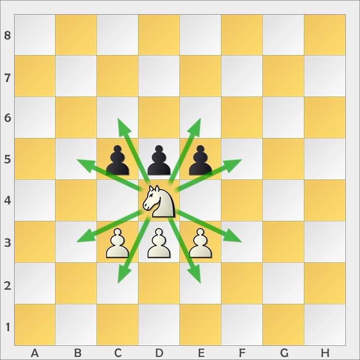 Der Springer kann als einzige Schachfigur hüpfen.
