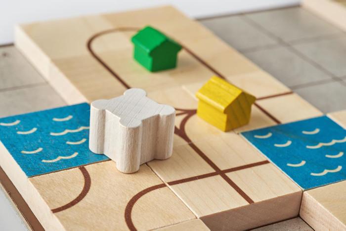 Abgeschlossene Gebiete mit Häusern und Burgen