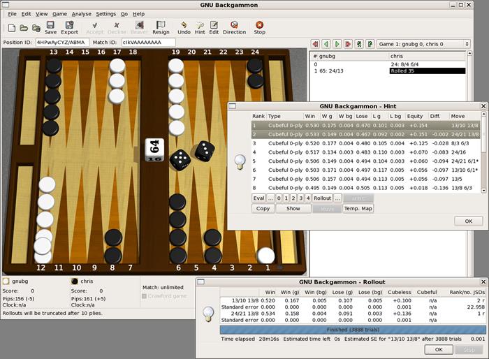 Backgammon Software (Quelle: https://de.wikipedia.org/wiki/Backgammon#/media/File:GNU_bg_screenshot.png)