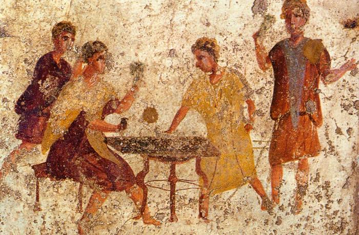 Wandmalerei Pompeii (Quelle: https://de.wikipedia.org/wiki/Backgammon#/media/File:Pompeii_-_Osteria_della_Via_di_Mercurio_-_Dice_Players.jpg)