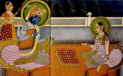 Krishna und Radha spielen auf einem Ashtāpada Brett (Quelle: https://commons.wikimedia.org/wiki/File:Radha-Krishna_chess.jpg)