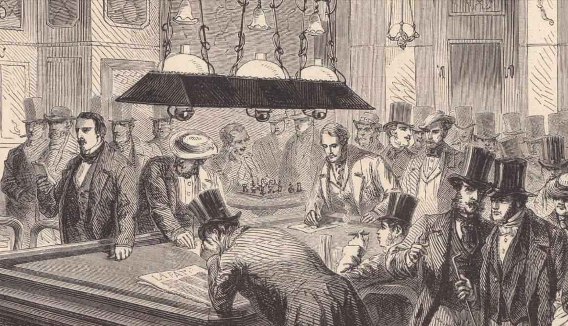 Café de la Régence 1858 anlässlich des Blind-Simultan von Paul Morphy (Quelle: https://www.schach-chess.com/Schachgeschichte/cafe-regence.htm)