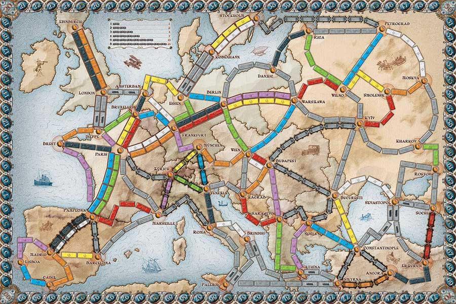 Spielfläche Zug um Zug - Europa