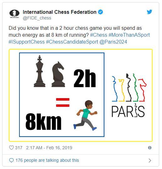 Schach oder 8 Kilometerlauf? Spielt laut der Fide keine Rolle.