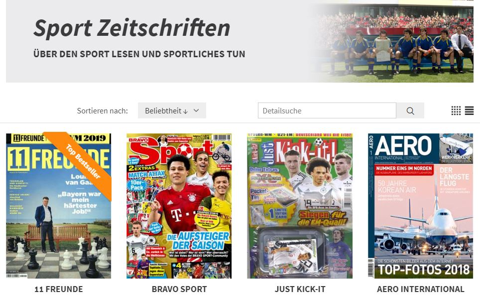 Screenshot von presseshop.ch